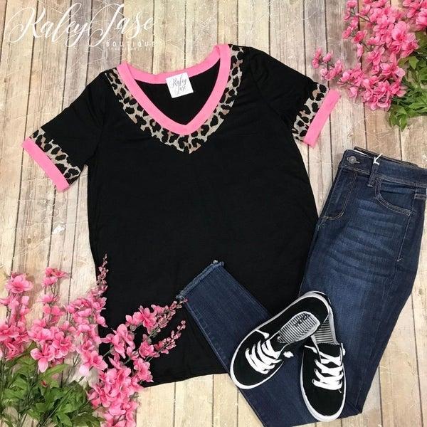Black Leopard Neon Pink Vneck