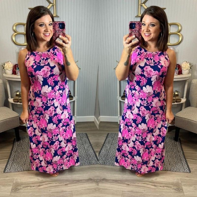 Navy Pink Floral Halter Maxi
