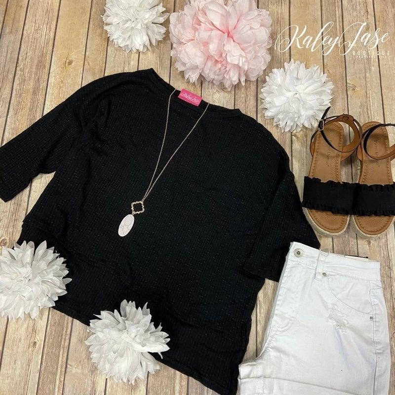 YMI Black Cropped Lightweight Knit Top