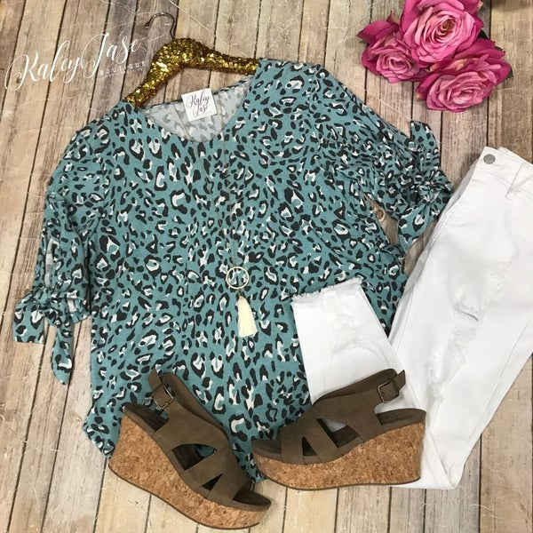 Dark Mint Leopard Vneck Ribbon Sleeve Top