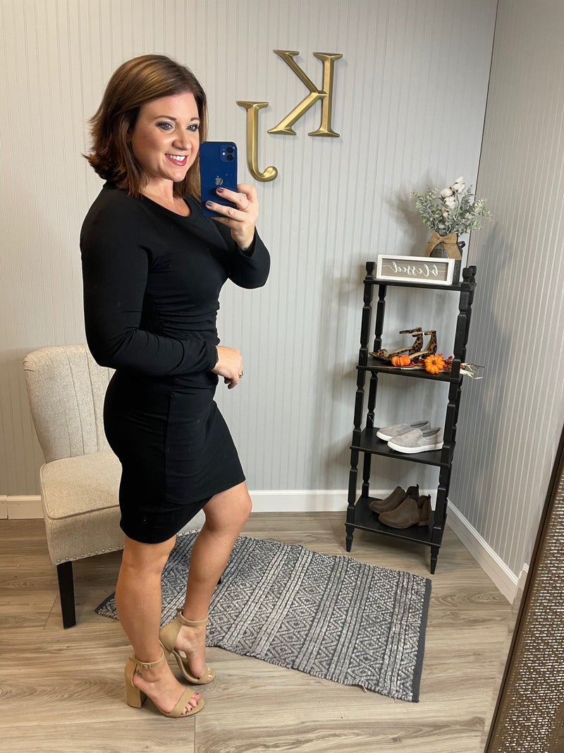 VB Black Ruched Dress