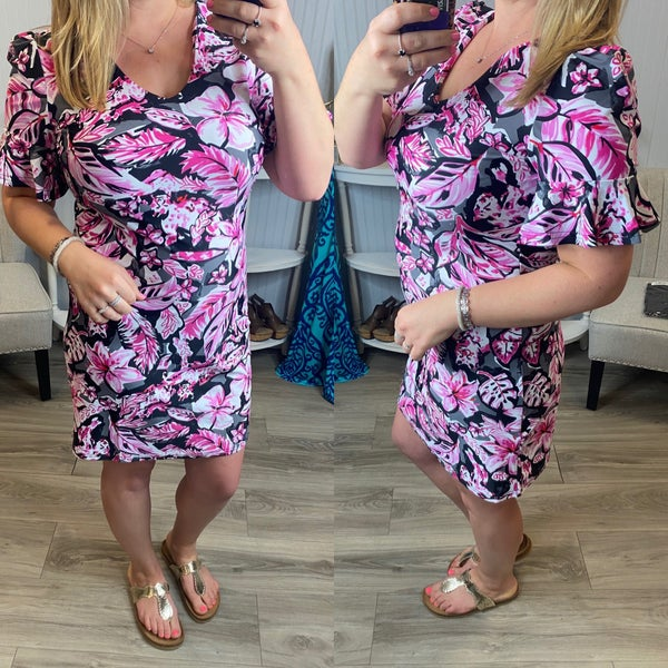 Aryeh Black Pink Tropical Brynn Ruffle Sleeve Dress