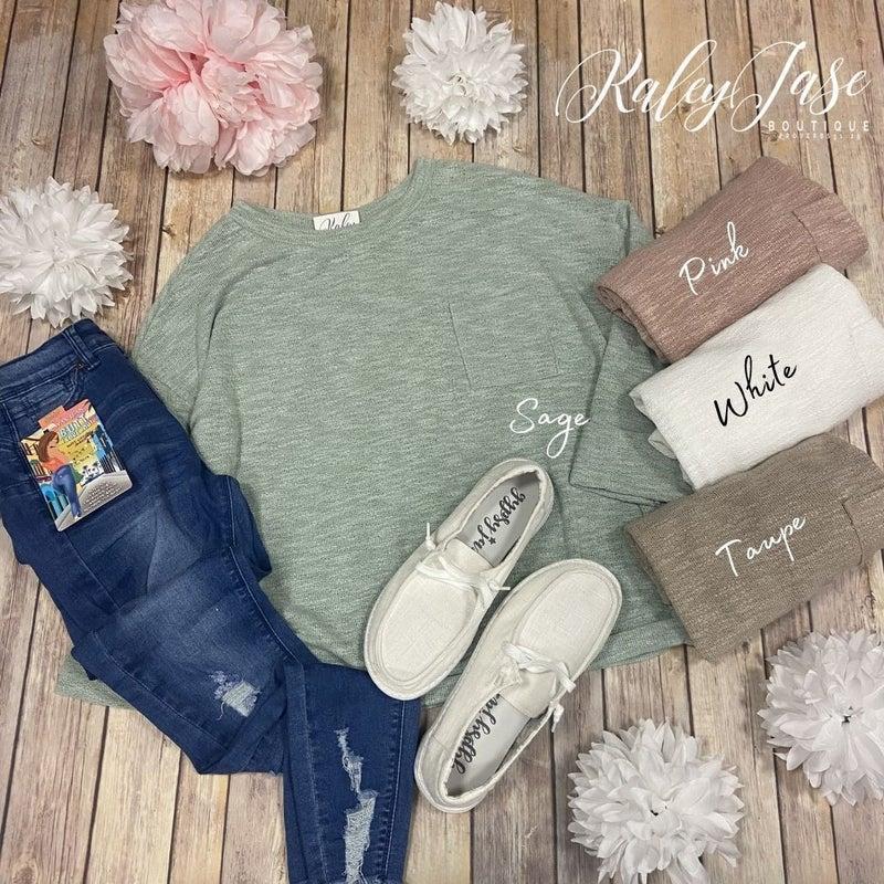 Knit Pocket Cuff LS Top