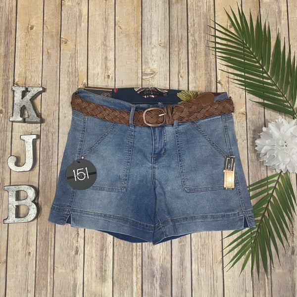 One5One Belted Pocket Jean Shorts