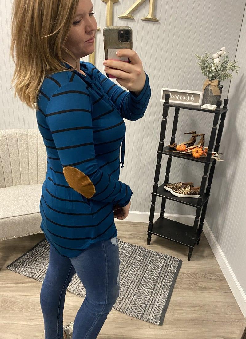 Stripe Patch Sleeve Hoodie