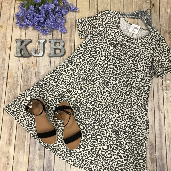 Beige Grey Leopard Dress