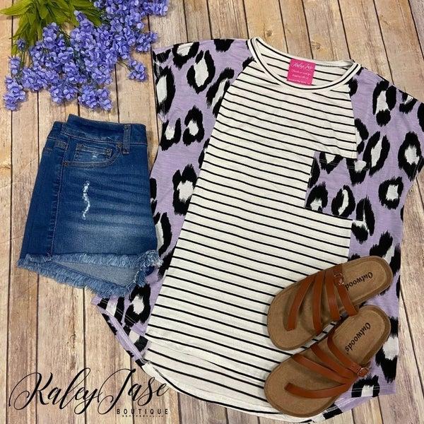 SIL Side Lavender Leopard Stripe Front Top