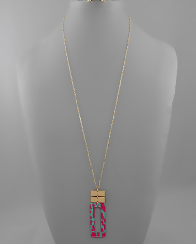 Leopard Rectangle Pendant Necklace