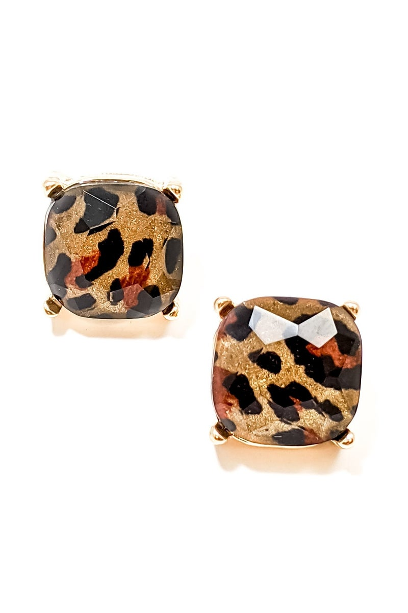Natasha Leopard Studs