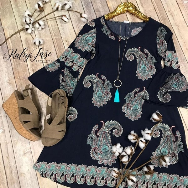 Navy Big Print Paisley Dress