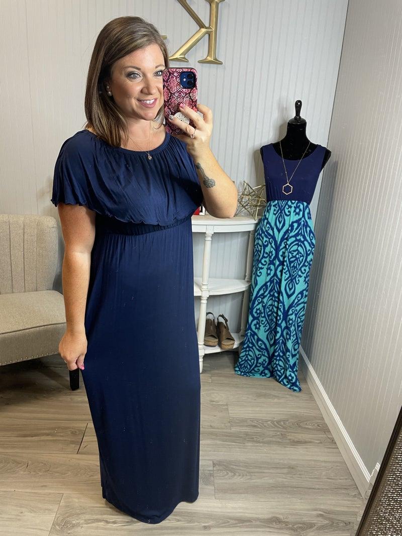 Solid Off Shoulder Maxi Dress