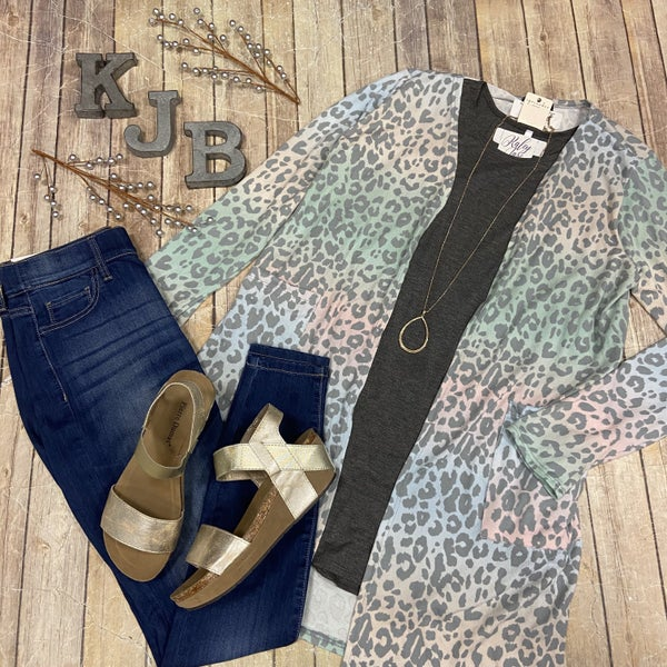 Multi Color Leopard Cardigan