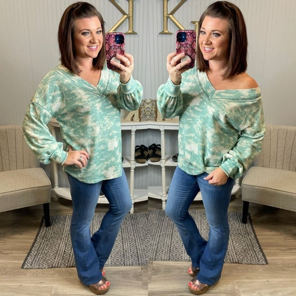 Sage Abstract Tie Dye Waffle V Top
