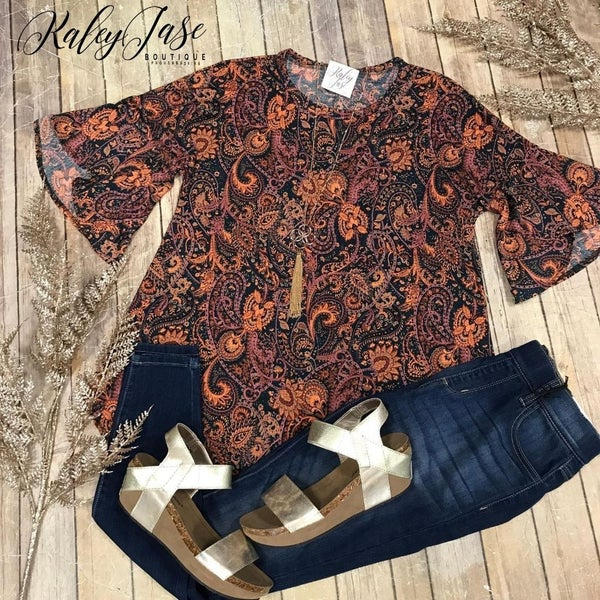 Teal Rust Flower Paisley Top