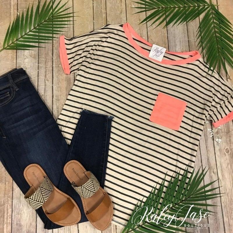 Stripe Neon Pocket Top
