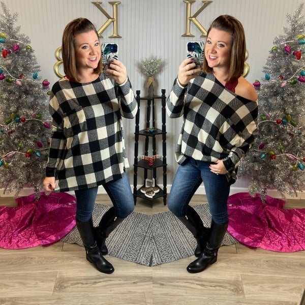 Oversized Buffalo Plaid Pocket Top
