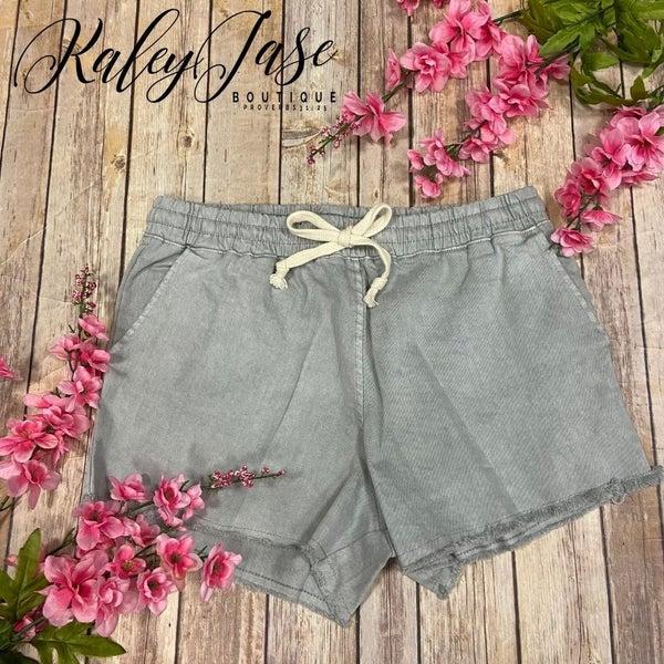 DZ Grey Drawstring Fray Shorts