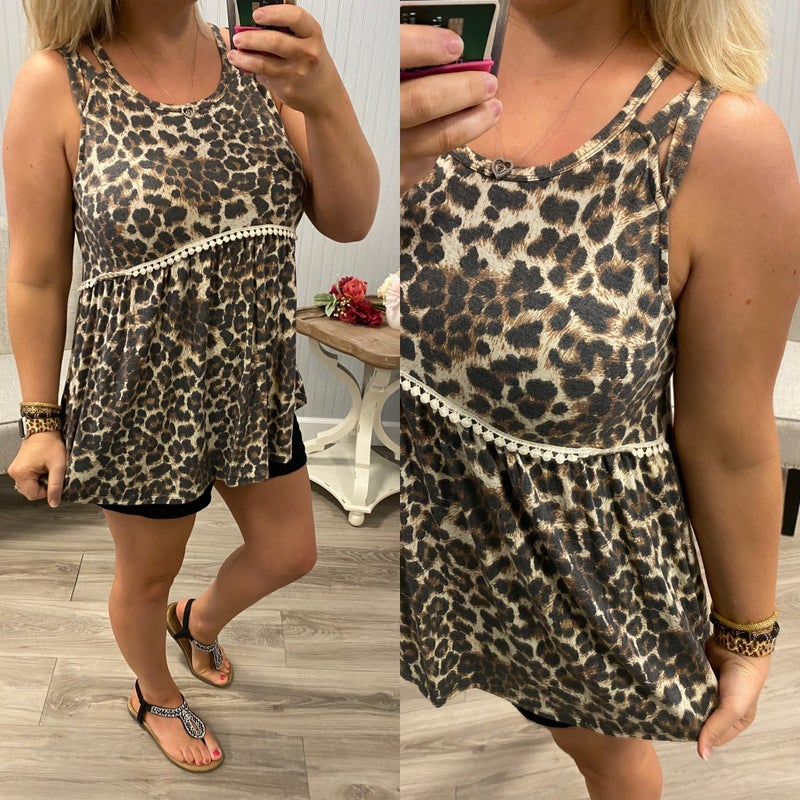 Leopard Crochet Accented Tank *Final Sale*