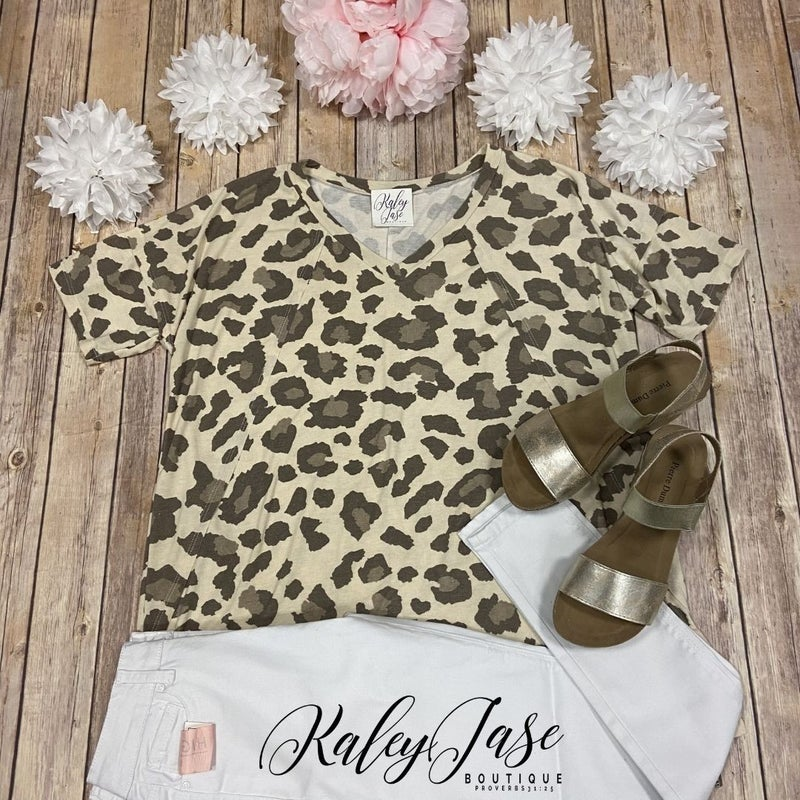 SIL Ivory Tan Leopard SS Top