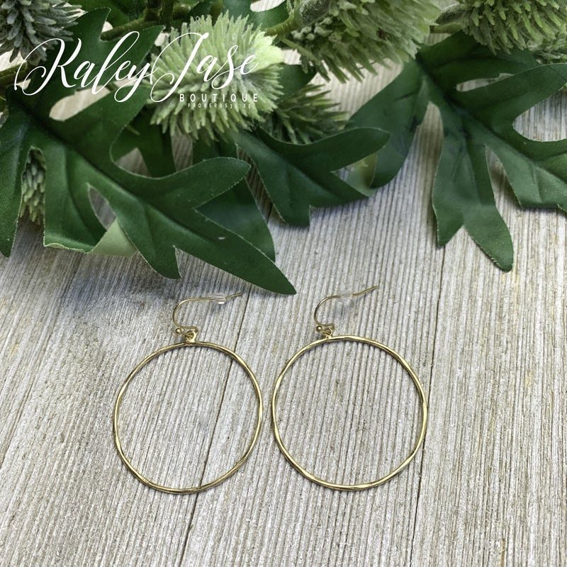 Dainty Dangling Hammered Hoops -G6