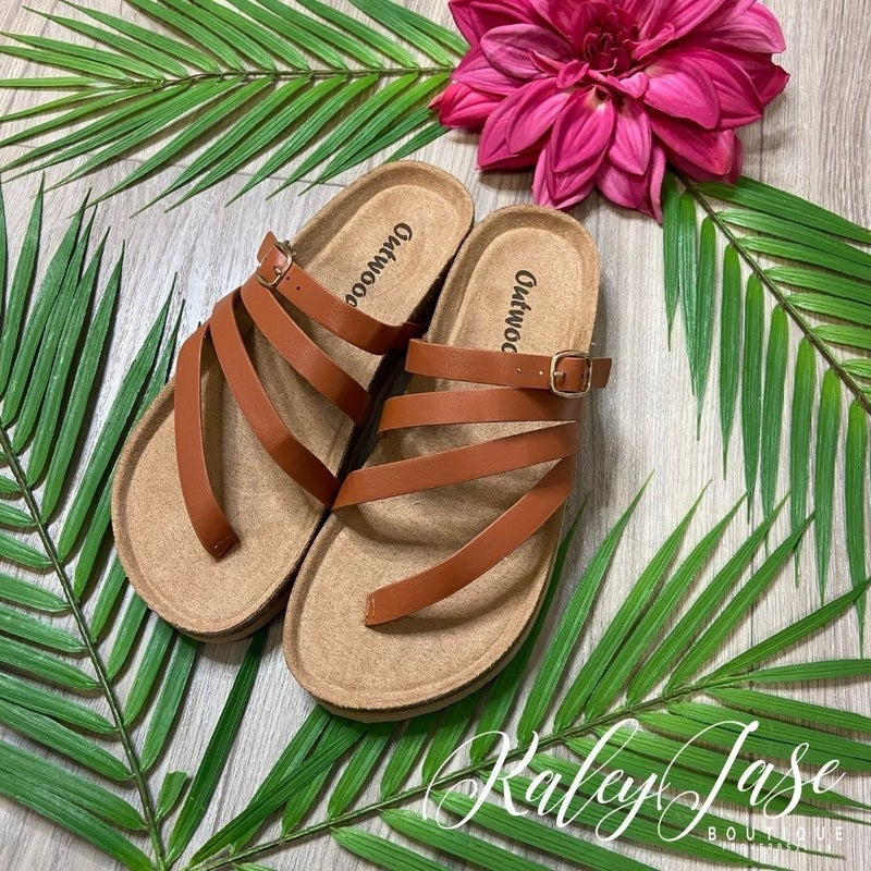 Tan Strappy Crossover Sandals