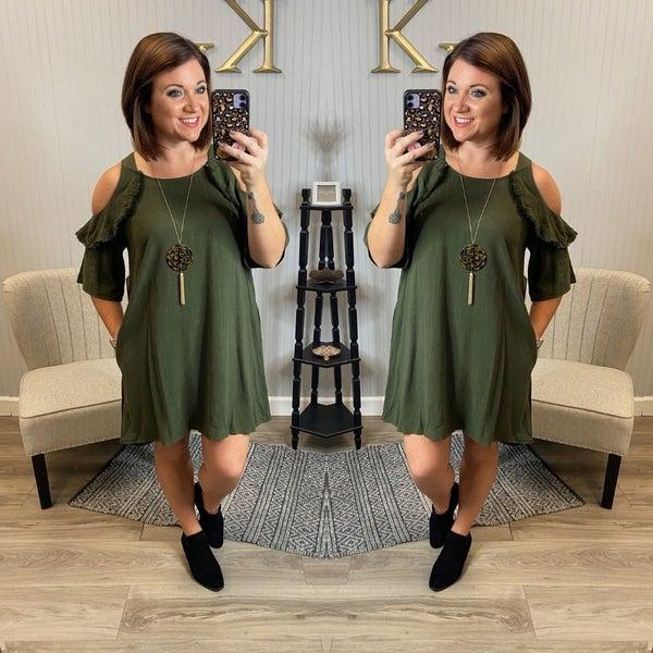Olive Cold Shoulder linen Dress