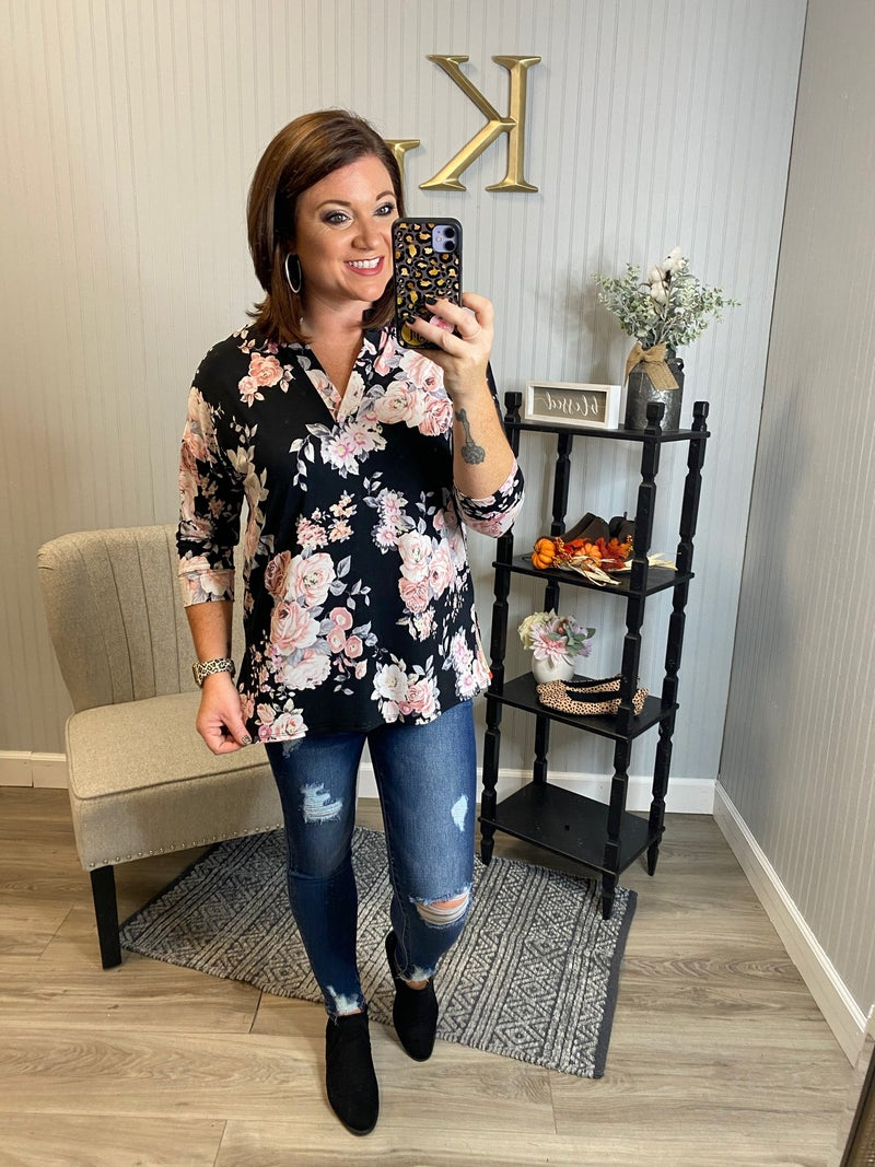 HM  Floral Gabbyboxy Top