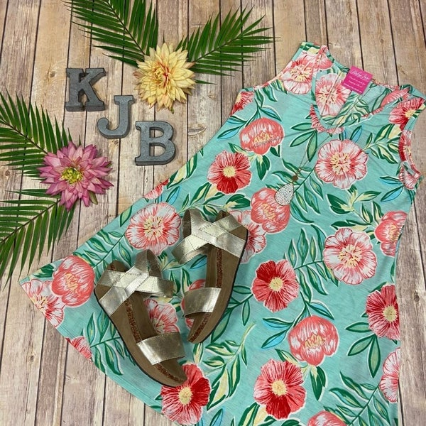 Mint Flower Vneck Dress