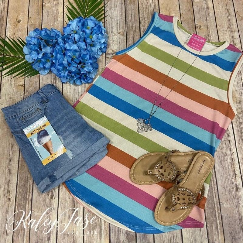 BB Rainbow Multi Color Stripe Top