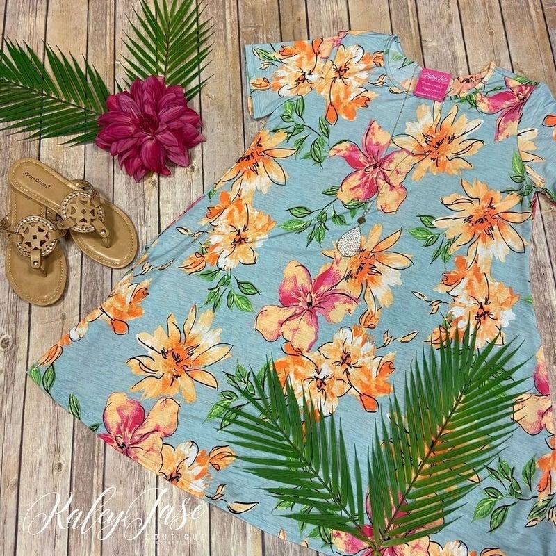 Grey Fuchsia Peach Tropical Flower Dress