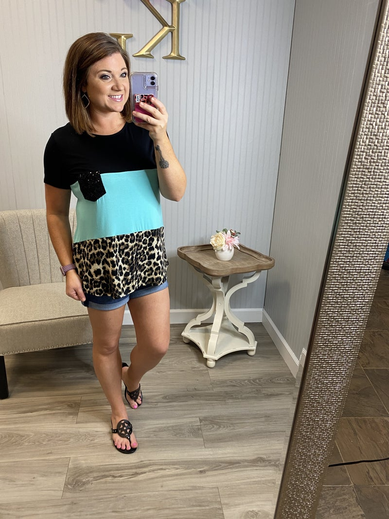 Leopard Colorblock Sequin Pocket Top *Final Sale*