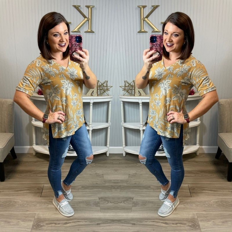 SIL Gold Floral Vneck Top *Final Sale*