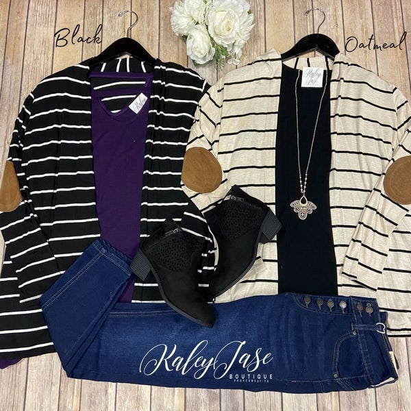 Stripe Elbow Patch Cardigan *Final Sale*
