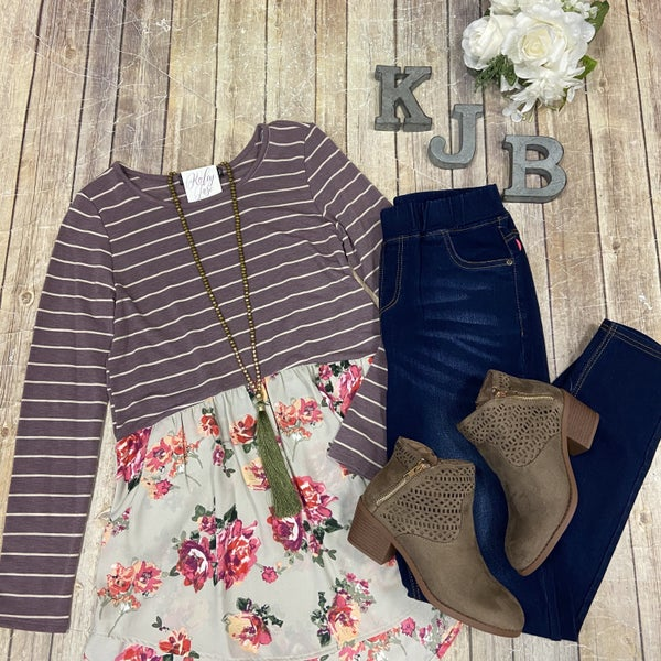 Lavender Stripe and Floral  Bottom LS Top