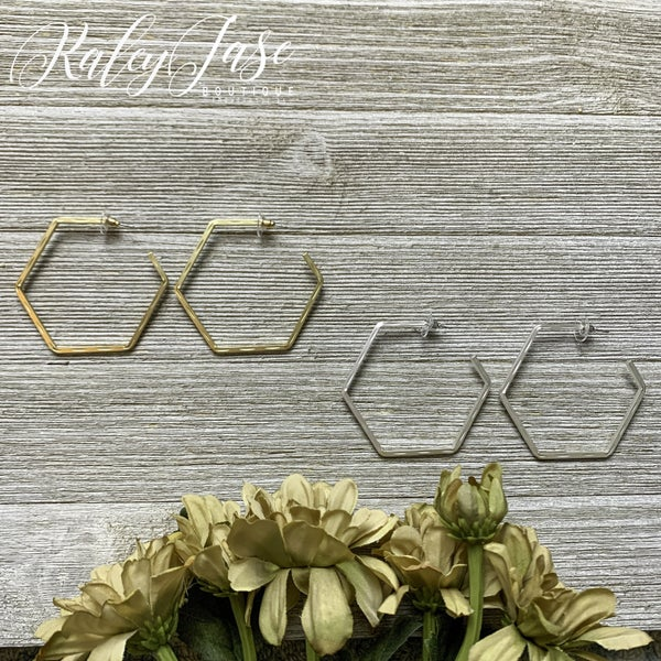 Imprinted Hexagon Hoops -YB1