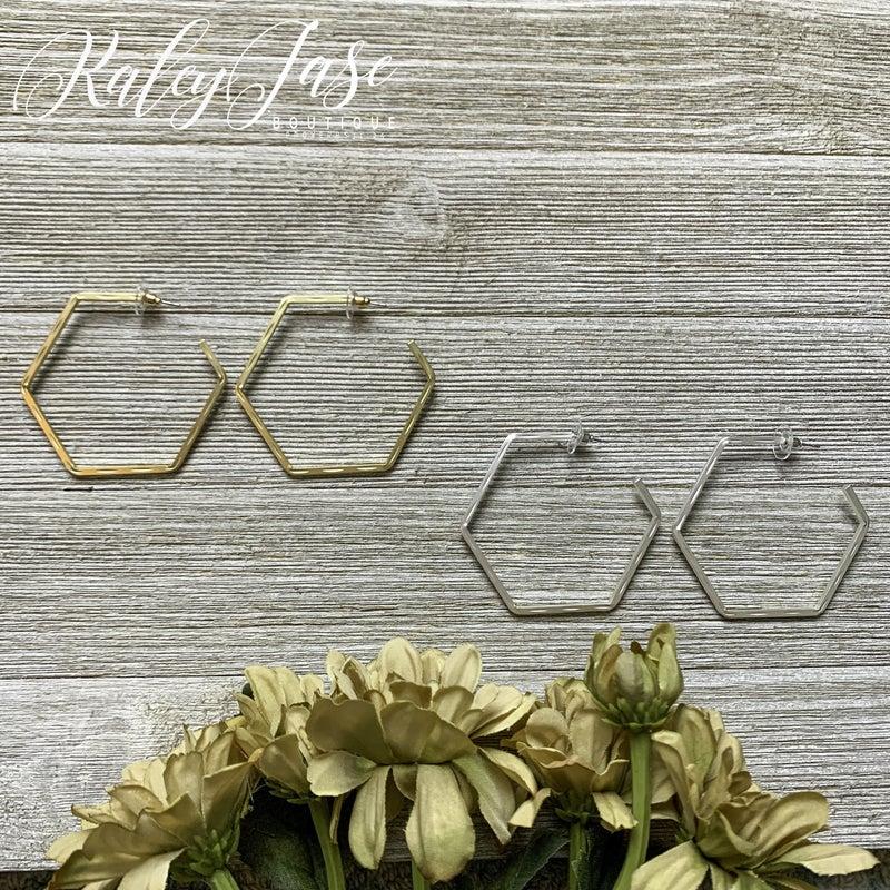 Imprinted Hexagon Hoops -YB1