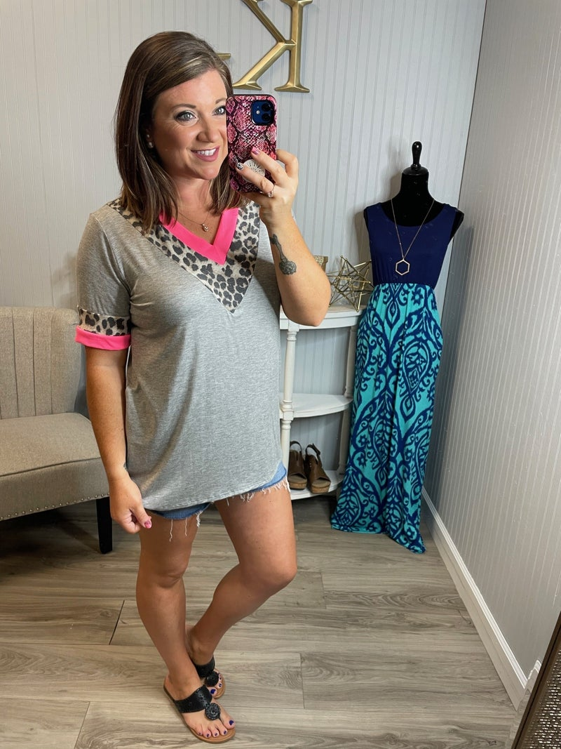 Heather Neon Leopard Chevron V Top