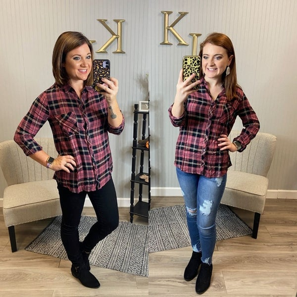 Pink Black Plaid Top