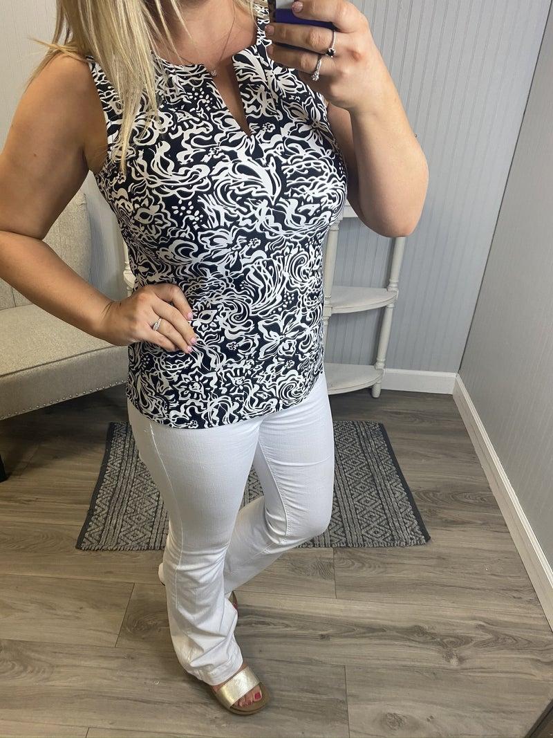 Aryeh Black and White Printed Sleeveless Top