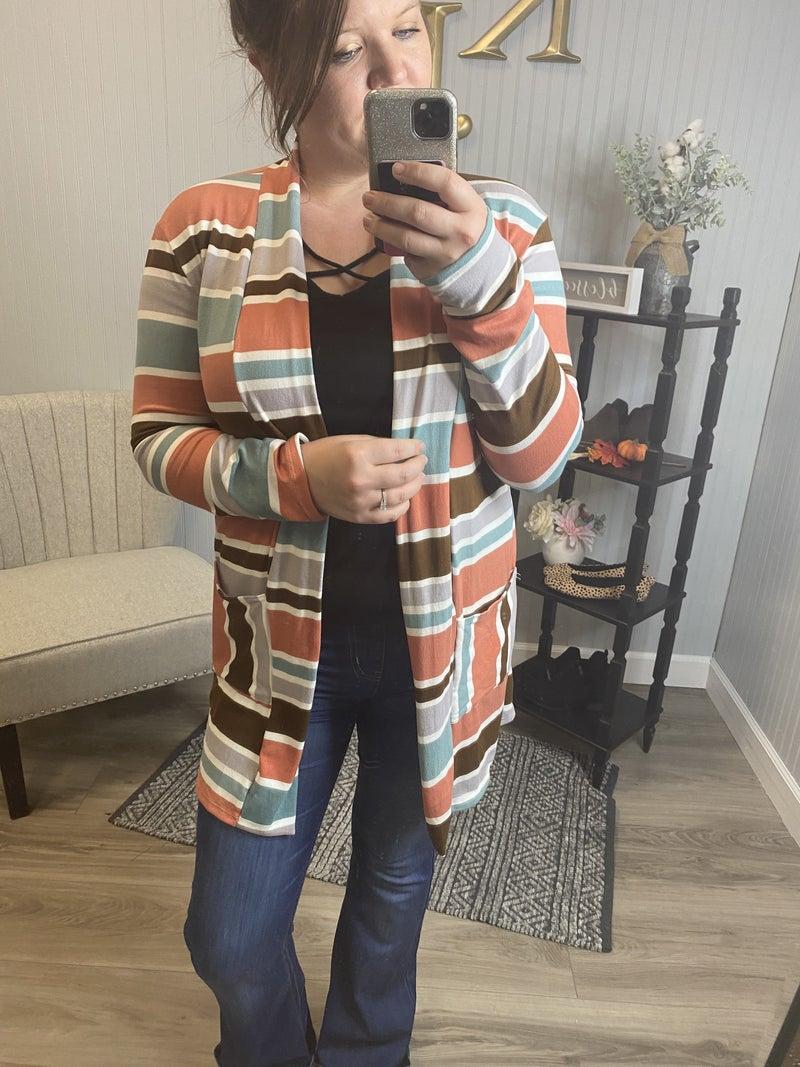 Multi Colored Striped Cardigan