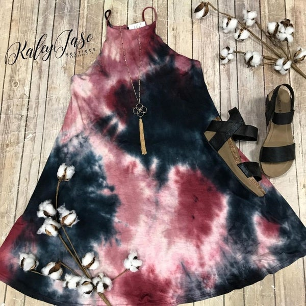 Wine Tie Dye Halter Dress