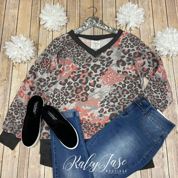 SIL Charcoal Coral Spotted LS Top