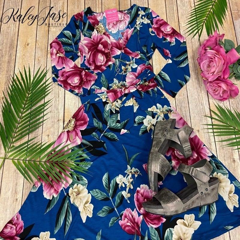 John 3:16 Teal Floral Wrap Short Dress
