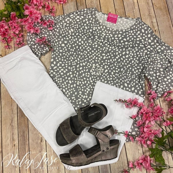 PR Soft Grey Spotted Leopard Ruffle Sleeve Top