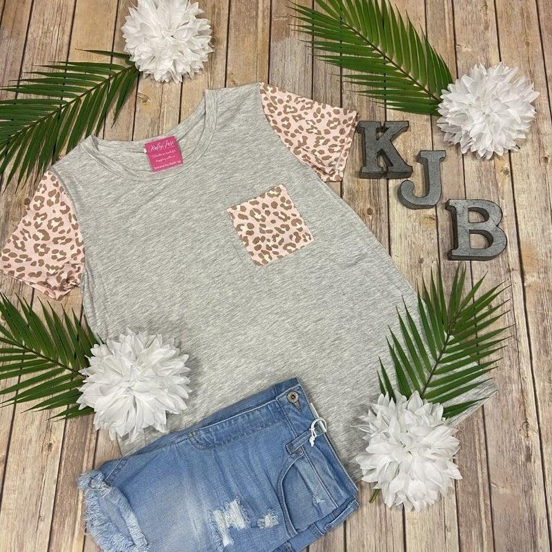 BB Heather Blush Leopard Pocket Top