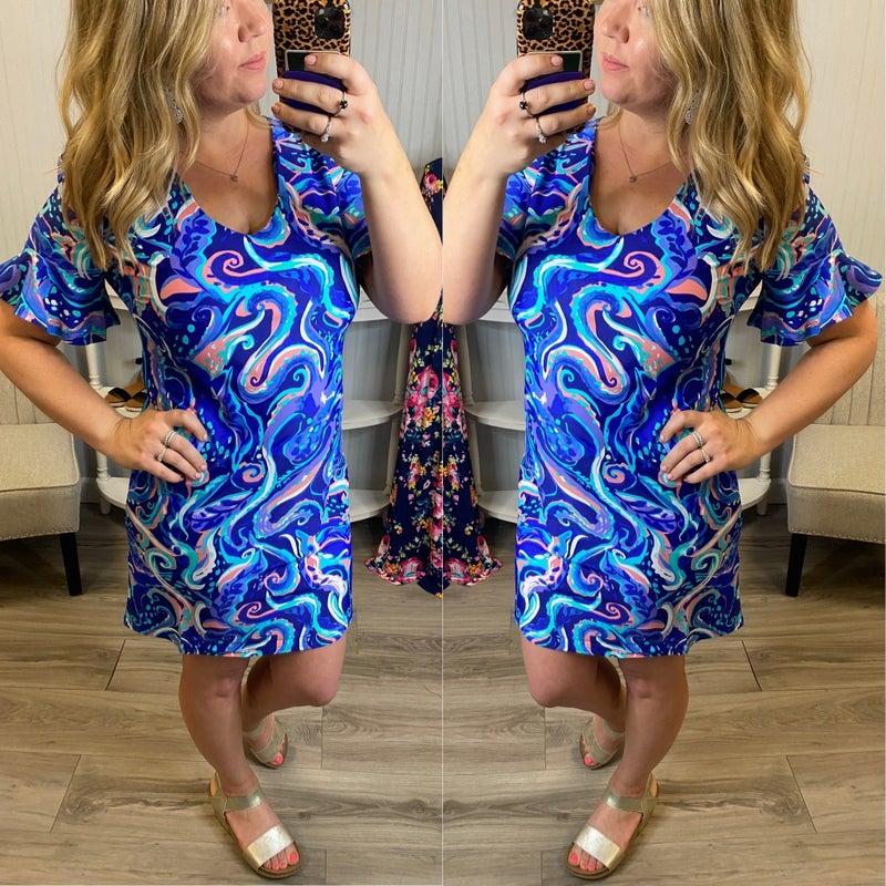 Aryeh Ocean Swirl Ruffle Sleeve Dress