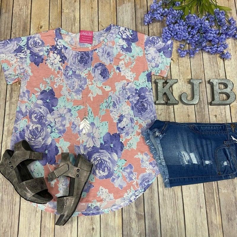 SIL Coral Lavender Mint Floral Scoop Top