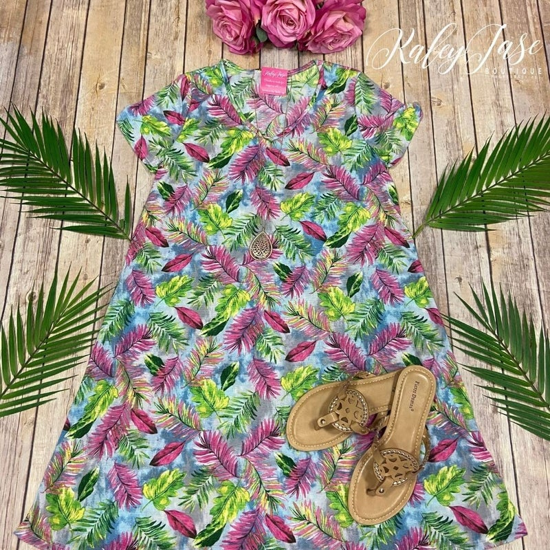 Tropical Short Sleeve Swing Dress