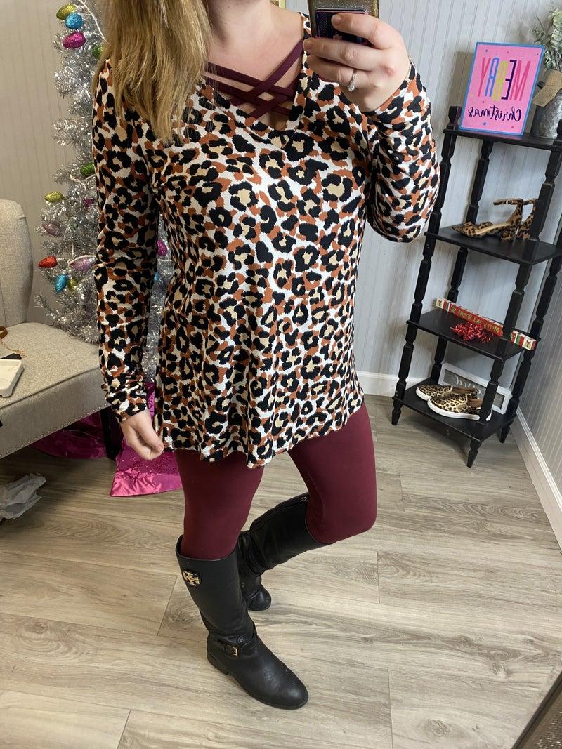 SIL Rust Leopard Burgundy Criss Cross Top