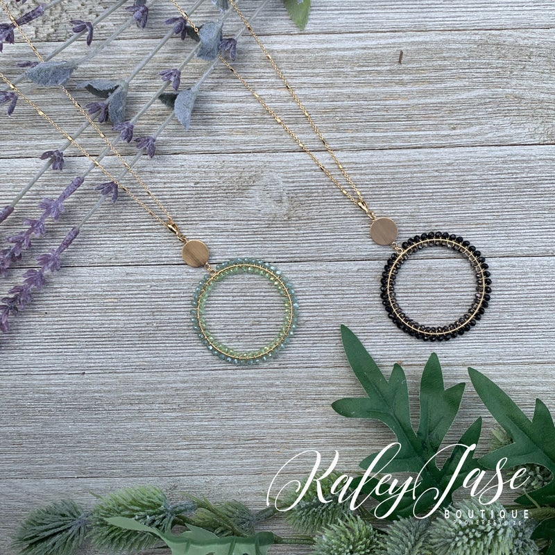 Beaded Circle Gold Necklace #19